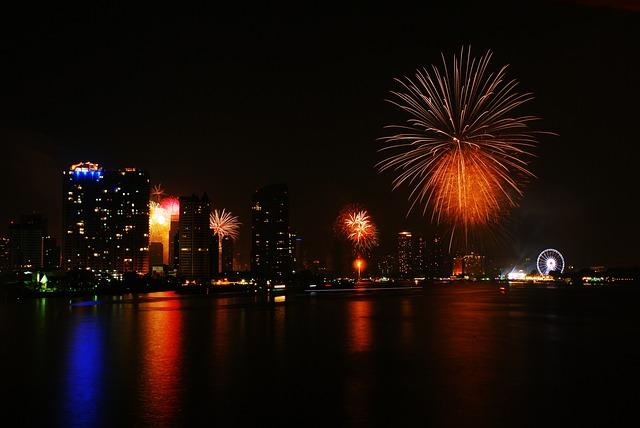 Free Photo Fireworks Happy New Year Bangkok Free
