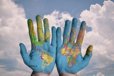 Mâinile, Lume, Hartă, Global, Pământ, Glob, Albastru