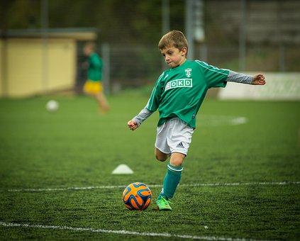 Bambino, Calcio, Giocando, Calciatore