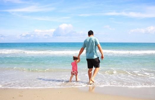 Padre, Figlia, Beach, Famiglia, Papà, Soleggiato