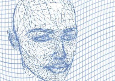 頭, ワイヤーフレーム, 顔, 行, ロボット, ロボット工学, 人工知能