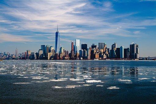 建物, 川, 市, 街並み, スカイライン, 高層ビル, ニューヨーク