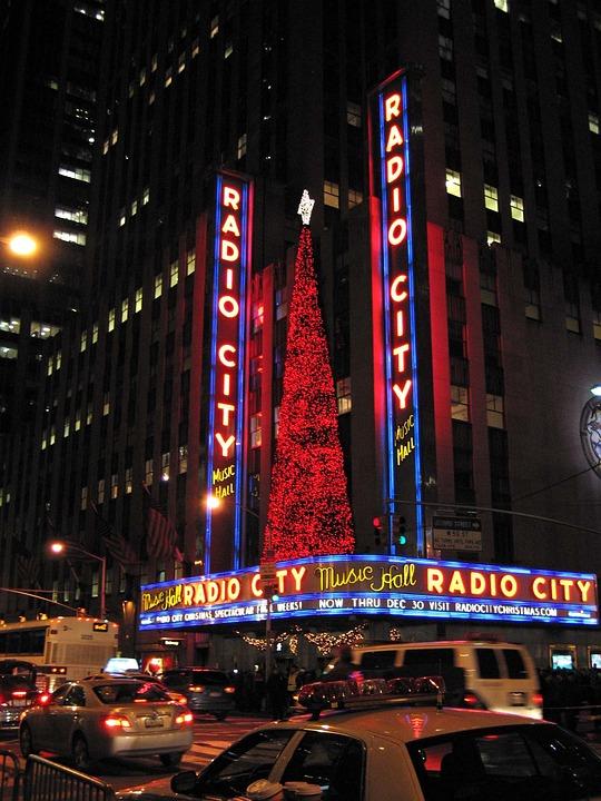 New York, Night, City, Neon Signs, Christmas, Teatro