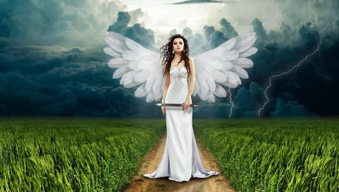 Angel, Mes, De Natuur, Flash, Wolken, Bewolking, Gras