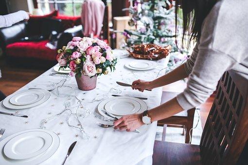 テーブル, 準備, 設定, クリスマス, 休日, 女性, 女の子, 花, 料理
