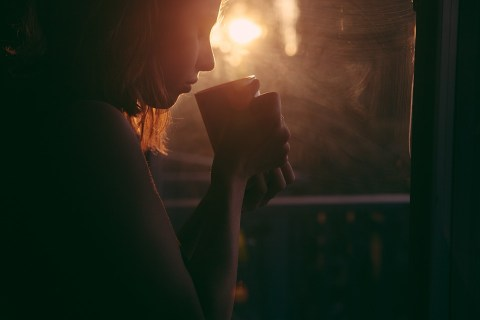 Girl, Drinking, Tea, Coffee Cup, Sunset, Sad Woman