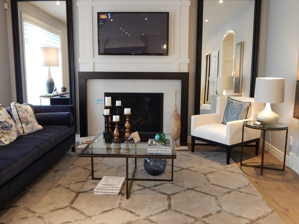 Minimalist Living room with fireplace design