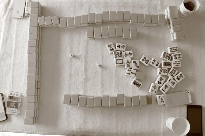 Mahjong, San Queyi, Noir Et Blanc, Jeu, Signe, Gane