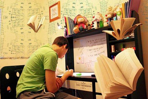 勉強, 試験, 準備, 知識, 10 代, 男性, ルーム, 研究, 書籍
