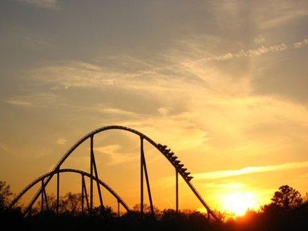 Sunset, Roller Coaster, Ride, Coaster