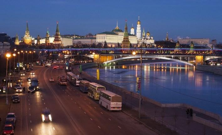 Moscou, O Kremlin, Quay, Rússia, Luzes Da Noite