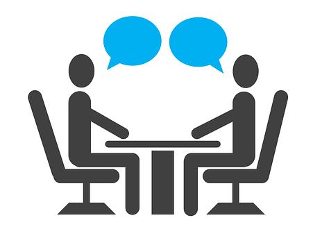 インタビュー, 仕事, アイコンを, 就職の面接, 会話, ビジネス