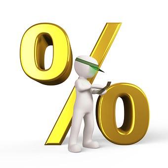 Prozent, Rabatt, Vergünstigung, Senkung. SKG senkt Zins!