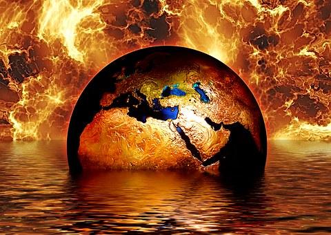Earth, Globe, Water, Fire, Flame, Brand