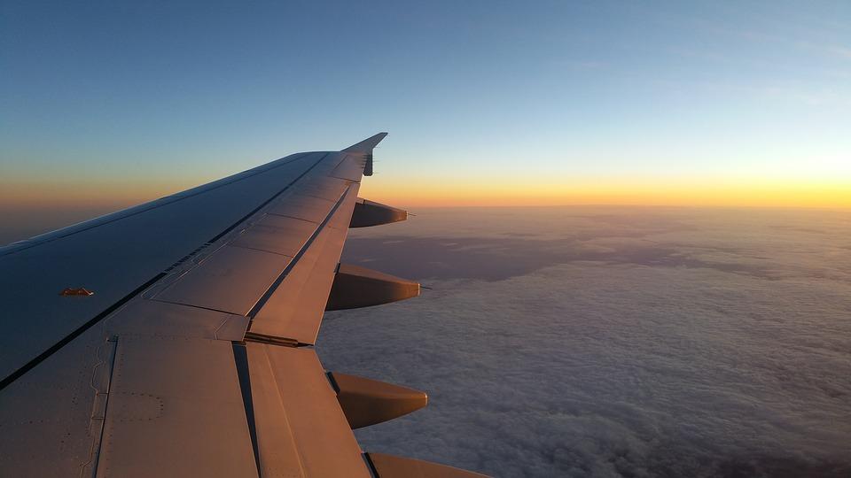 Plane, Sky, Cloud, Wing, Planes, Horizon, Sunset