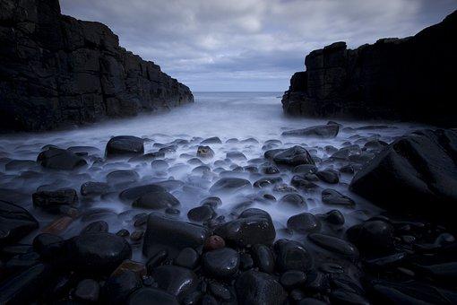 Rocks, Pebbles, Sea, Long Exposure