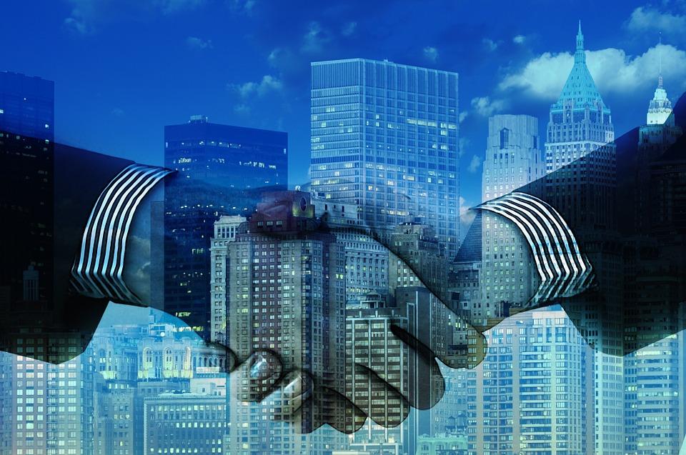 手, 握手, 会社, 超高層ビル, オフィス, 事務所ビル, 金融の世界, 金融, 連邦政府, 同盟, 提携