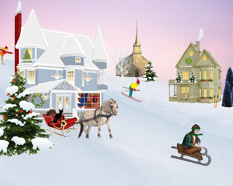 Illustration Gratuite Scne Nol Village Neige Image