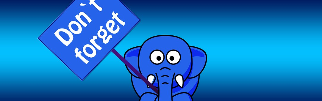 "An image of an elephant holding a sign that says ""don't forget,"" in regards to this article about a bailout."