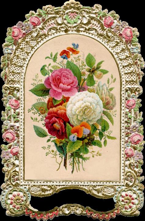 Illustration Gratuite Orn Vintage Cadre Or Roses
