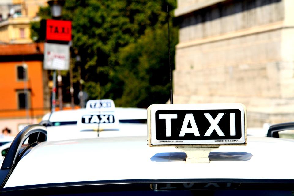 Taxi, Auto, Rome, Road, White
