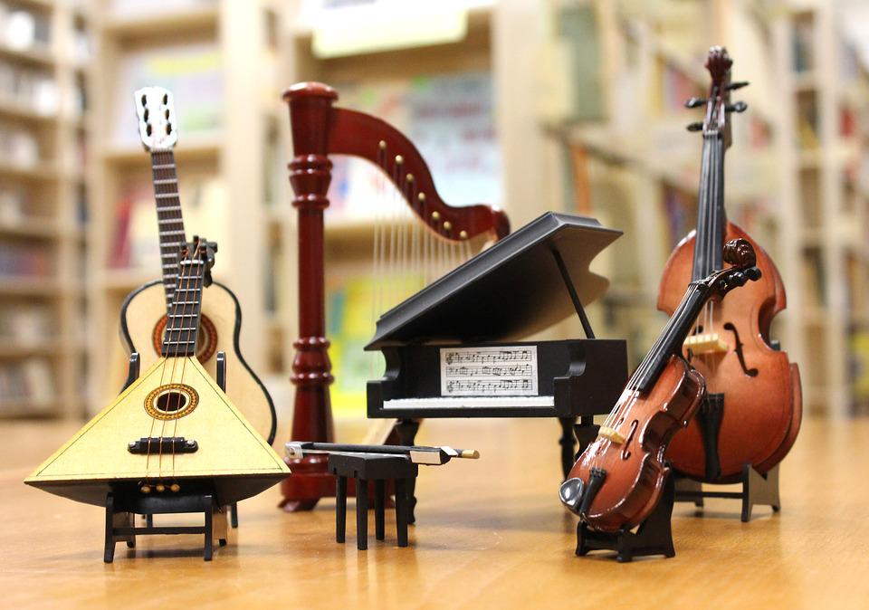 """""""Picture of Musical instruments, used for Christian and secular music, arranged inside a building"""""""