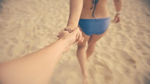 Coppia, Innamorato, Supporto Mano Mano, Spiaggia, Mare