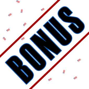 A plain image shwowing the word BONUS written diagonally in black letters bordered with blue