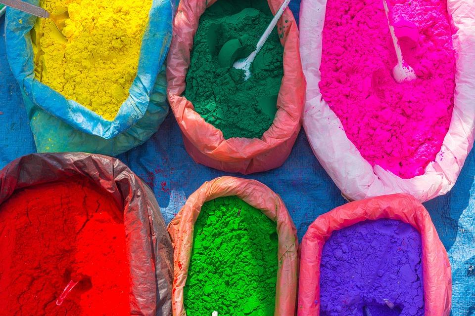Marché De Rue, Coloré, Couleurs, Poudre, Népal