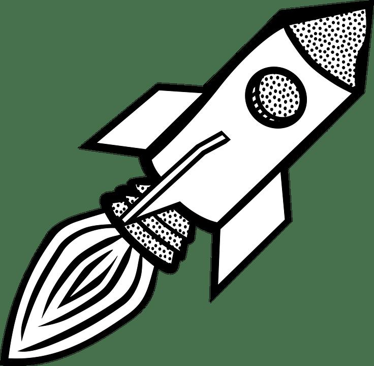 White And Cartoon Rocket Black Ship Clip Art