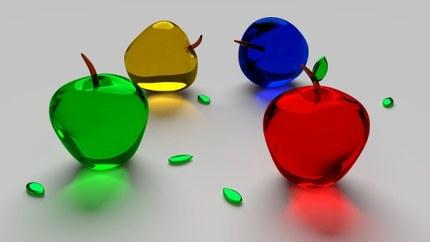 アップル, ガラス, フルーツ, 食品, 透明, 壁紙, 3 D, アップル