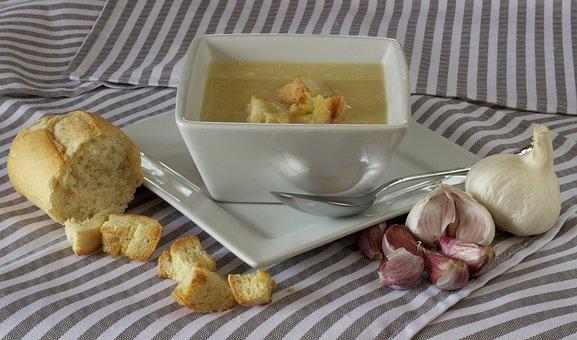 Soup, Bread, Dinner, Garlic, White