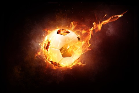 Football, Ball, Sport, Leather, Fire, Shining, Flame