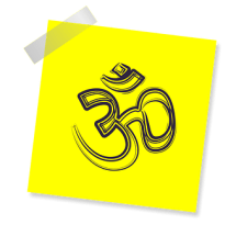 Om, Sign, Icon, Reminder, Yellow Sticker, Prayer