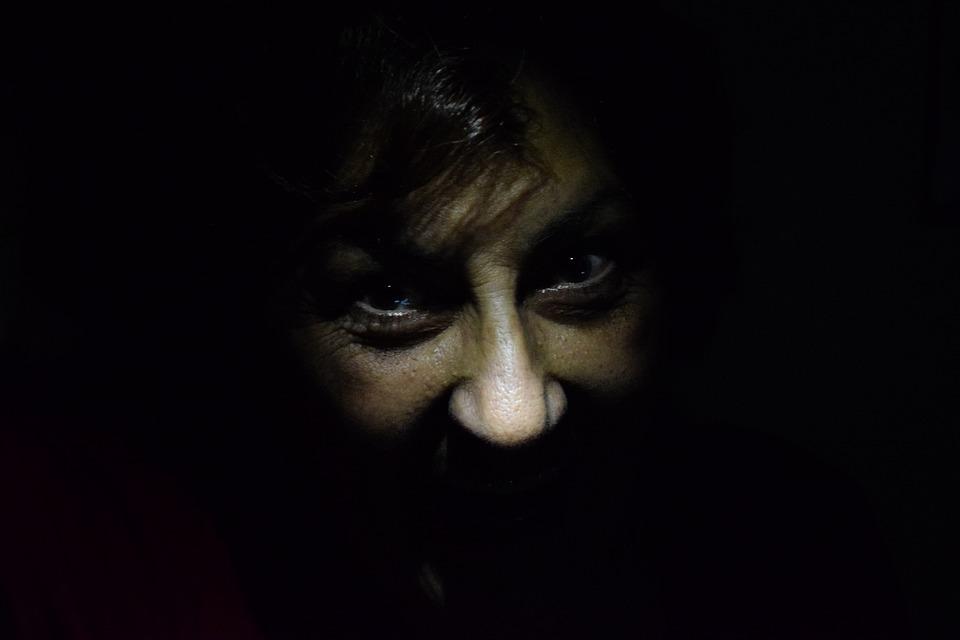 Oscuridad, Miedo, Terror, Cara, Ojos, Enfado