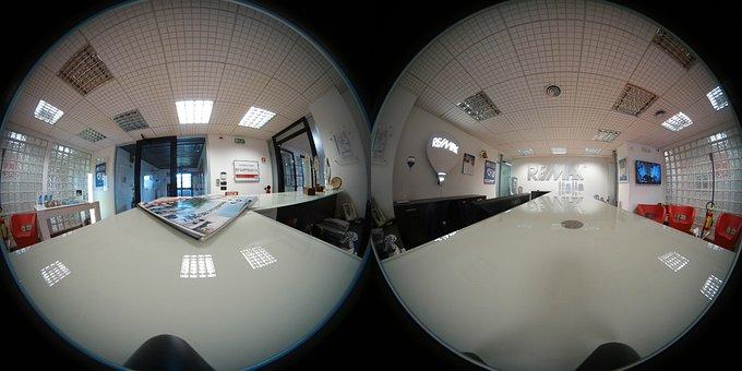 球状360度の写真, オフィス, デスク, 会社, 360, Vr
