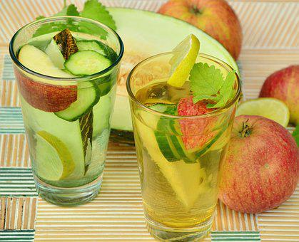 fruit infusions in 2 glasses for body detox