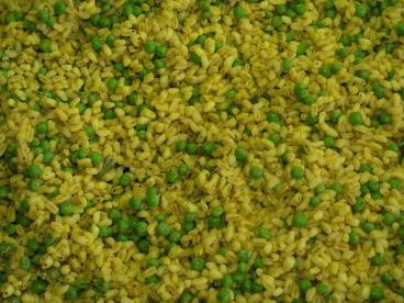 Peas, Rice, Cooked, Food, Dining, Yellow, Saffron