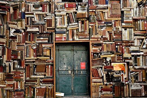 Books, Shelves, Door, Entrance, Library