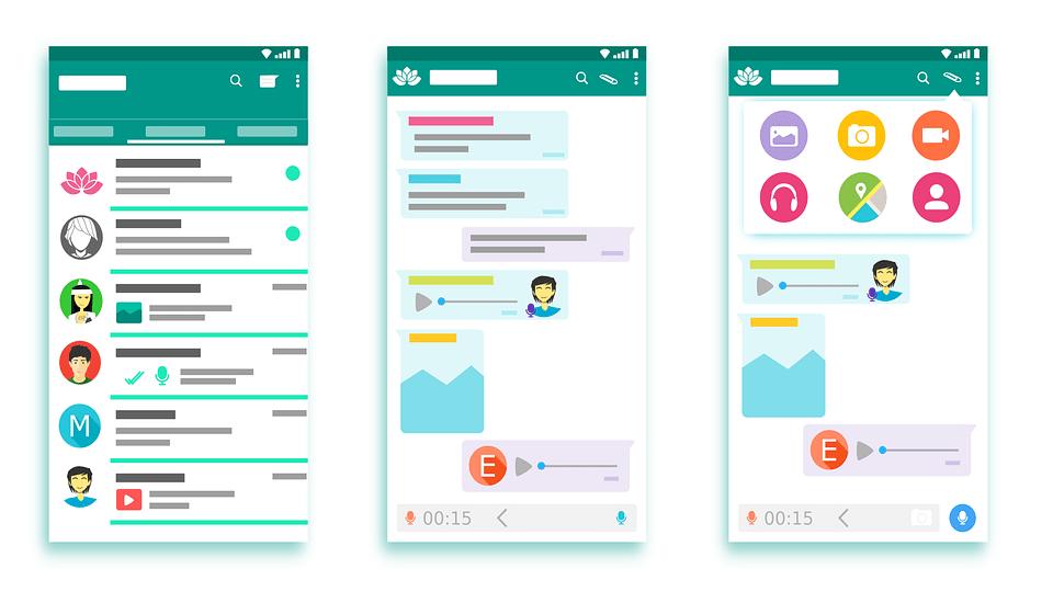 Interfaccia Whatsapp, App, Androide, Telefono