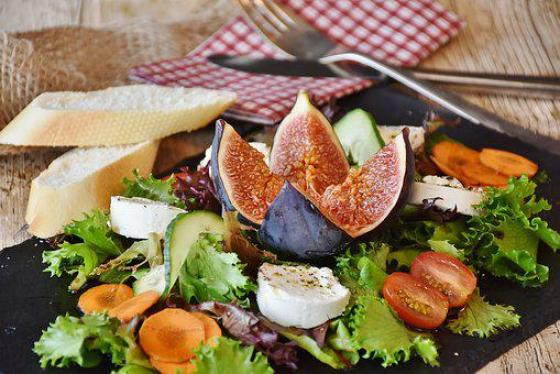 Salad, Figs, Cheese, Goat Cheese