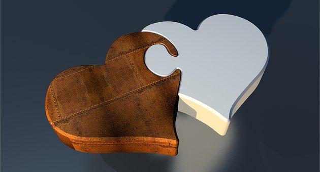 パズル, 防錆, 心, 愛, 2 つの心, パートナーシップ, 接続, 共有