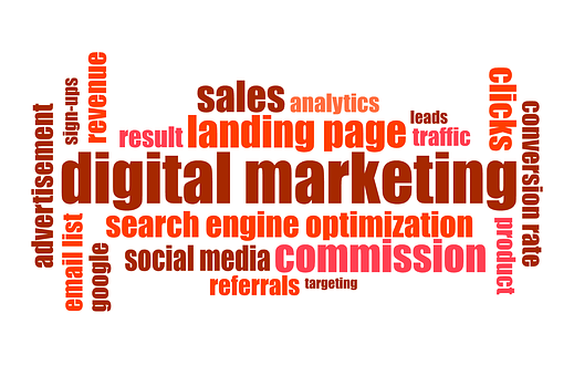 An image in red, brown and crimson colors on a white background showing the different facets of digital marketing