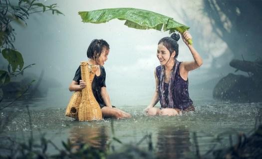 Donna, Giovane, Pioggia, Stagno, Cambogia, Ragazza