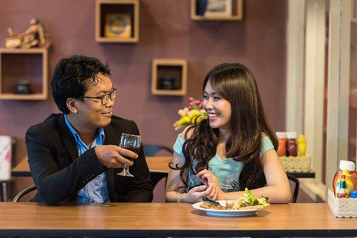 Couple, Restaurant, Dating, Drink