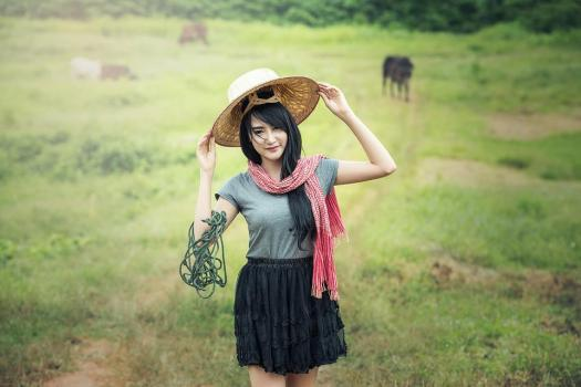 Donna, Verde, Cappelli, Campagna, Antico, Asia, Cultura