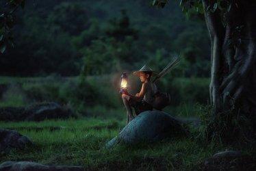 Boy, Sitting, Lantern, Outdoors, Asia