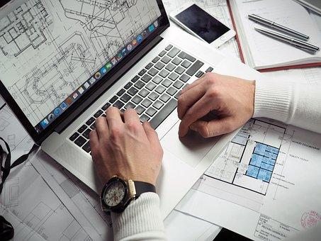 Blueprints, Entrepreneur, Hands, Laptop