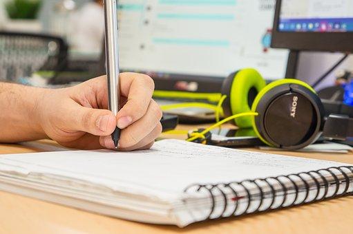 Book, Desk, Hand, Handwritten