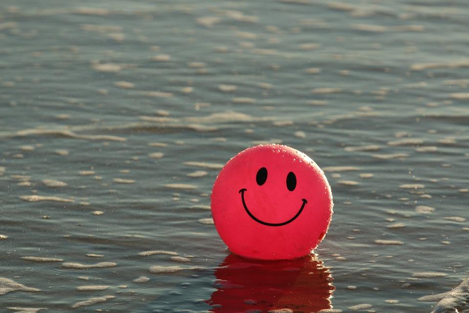 Ball, Beach, Happy, Ocean, Pink, Smile, Smiley